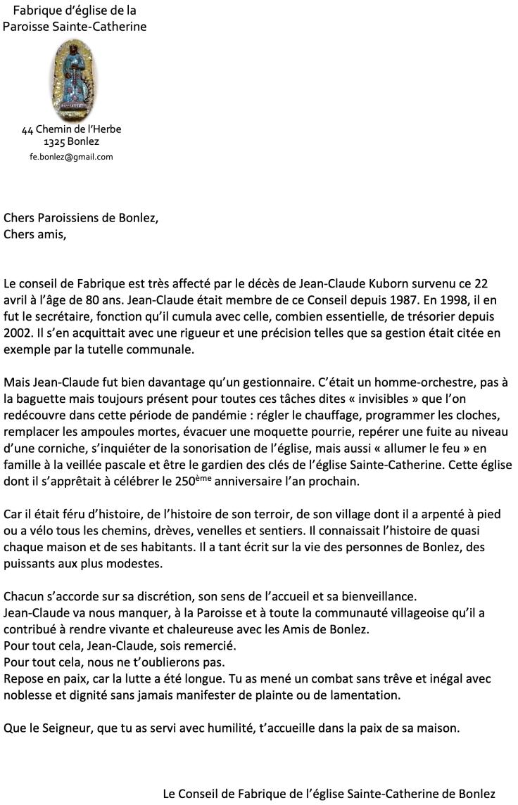 In memoriam Jean-Claude Kuborn
